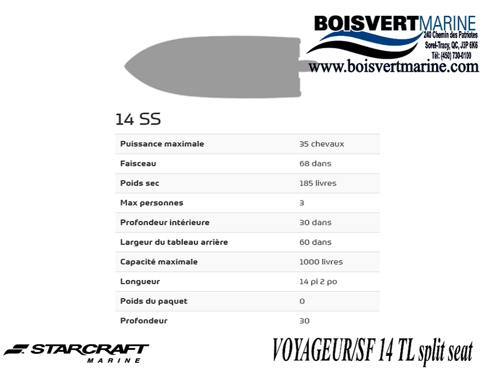 2021 Starcraft boat for sale, model of the boat is Voyageur/sf 14 Tl Ss & Image # 3 of 3